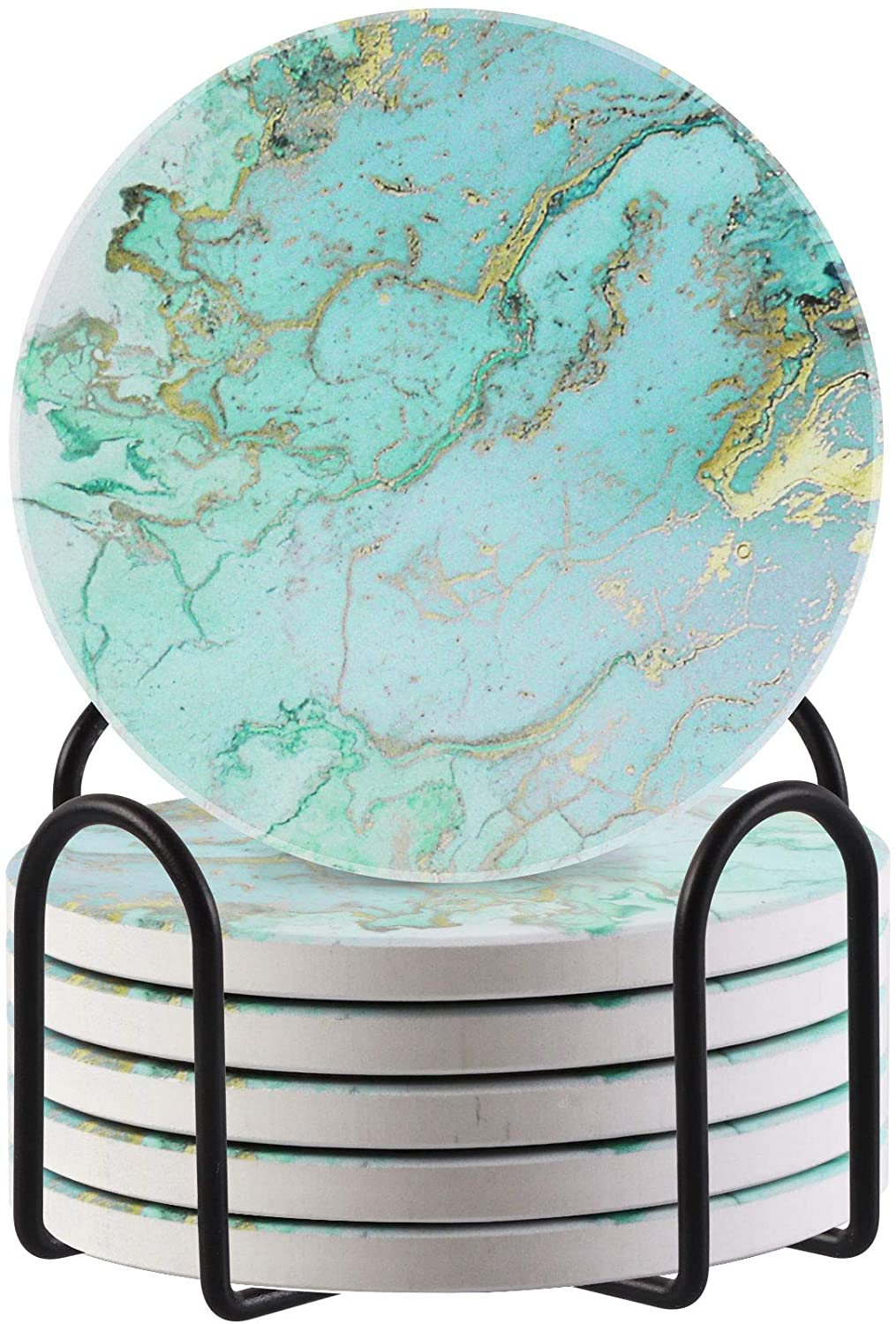 Lahome Marble Pattern Coasters for Drinks, Round Absorbent Ceramic Stone Design Coasters Set with Holder for Mugs Cups Tabletop Protection Room Decor (Light Blue, 6)