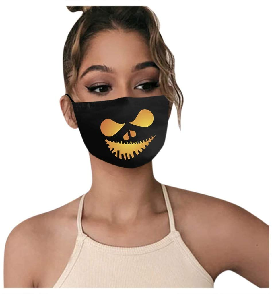 Stzonece Halloween Face Madks, Adults Washable Funny Expression Prints Face Cotton Reusable Breathable Dustproof Face Covering with Filter Pocket