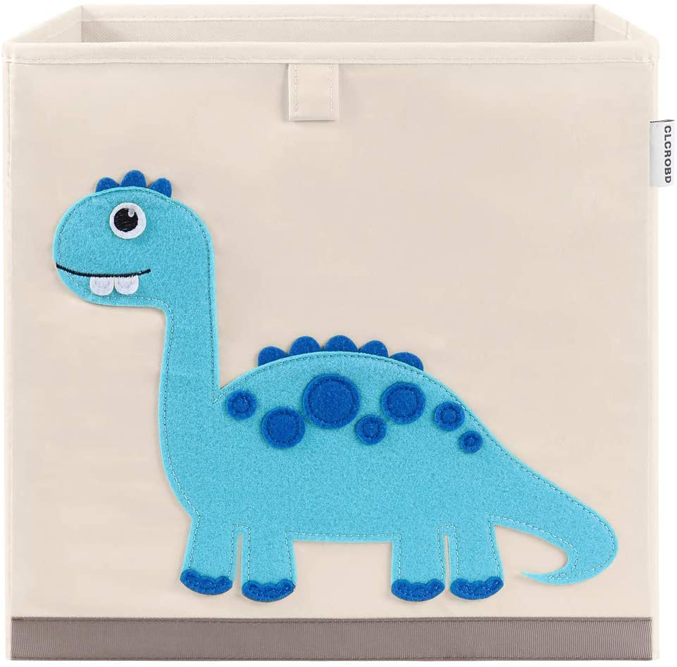 CLCROBD Foldable Animal Cube Storage Bins Fabric Toy Box/Chest/Organizer for Kids Nursery, 13 inch (Dinosaur)