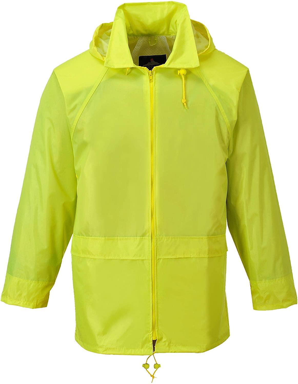 Brite Safety Classic Rain Jacket - Waterproof Rainwear Hooded Jackets for Men and Women (Yellow,Small)