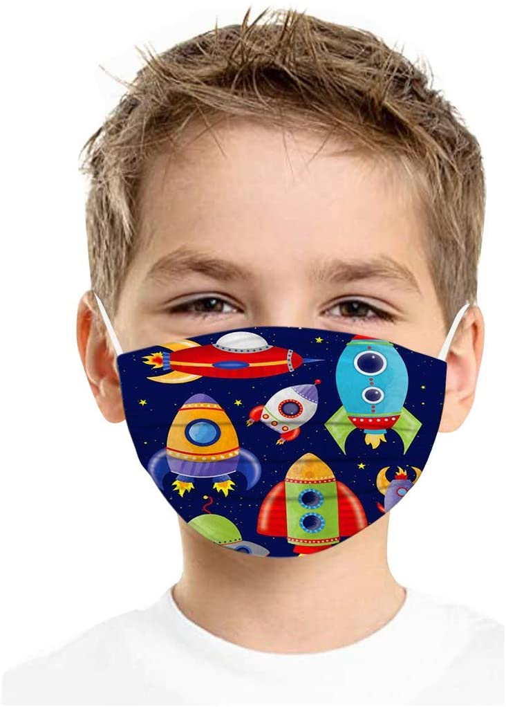 Kids 3 Ply Disposable Earloop Woven Face_masks Fashion Children Printed Space Bandana,Pack of 100PCS