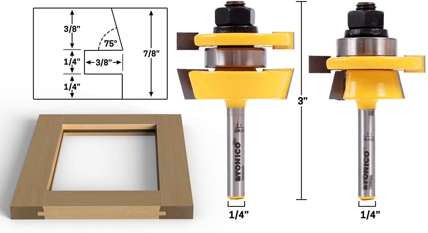 Yonico 12249q Shaker 2 Bit Rail and Stile Router Bit Set 1/4-Inch Shank