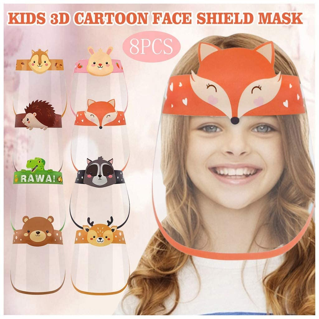 【US STOCK】YLLQXI Kids Shields Transparent Anti-fog Face Covering Reusable Breathable All-Round Protection Elastic Band Cartoon Pattern for Kids Children