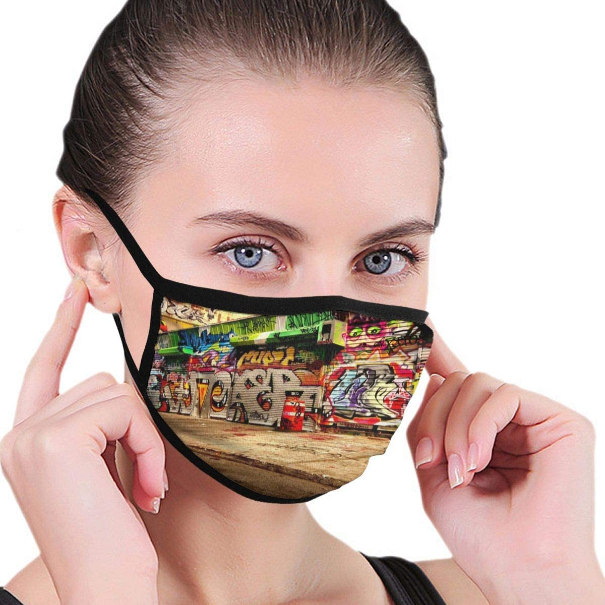 Doumku Mouth Cover Vintage Street Graffiti Art Dust Breathable Reusable Ear Loop Mouth Protection Cover For Men Women