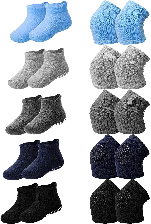 10 Pairs Baby Crawling Anti-Slip Knee Pads and Anti-Slip Baby Socks Set Unisex Toddler Knee Protectors Non Slip Ankle Socks