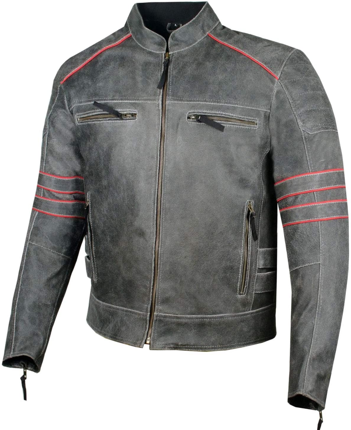 Men's Brotherhood Classic Leather Motorcycle Distress CE Armor Biker Jacket S