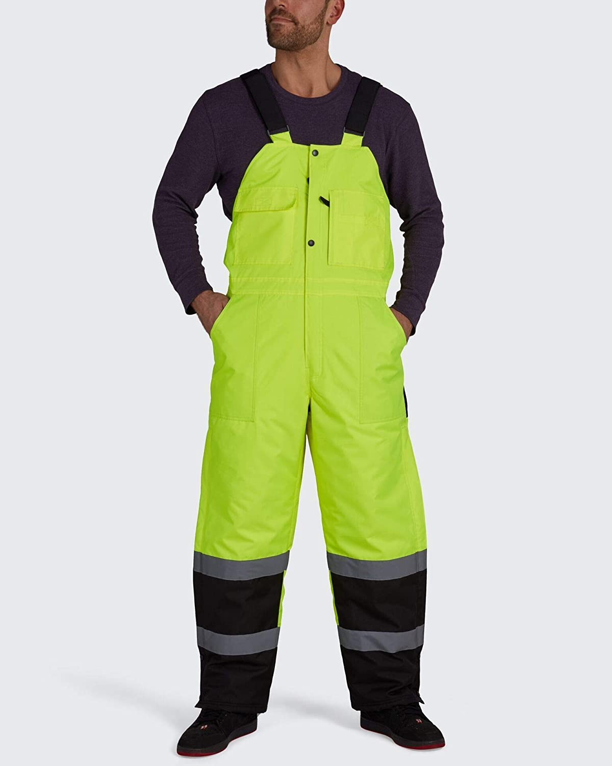 Brite Safety Lined Bib Overall - Hi Vis Overalls For Men and Women - ANSI 107 Class E Compliant Waterproof Work Wear