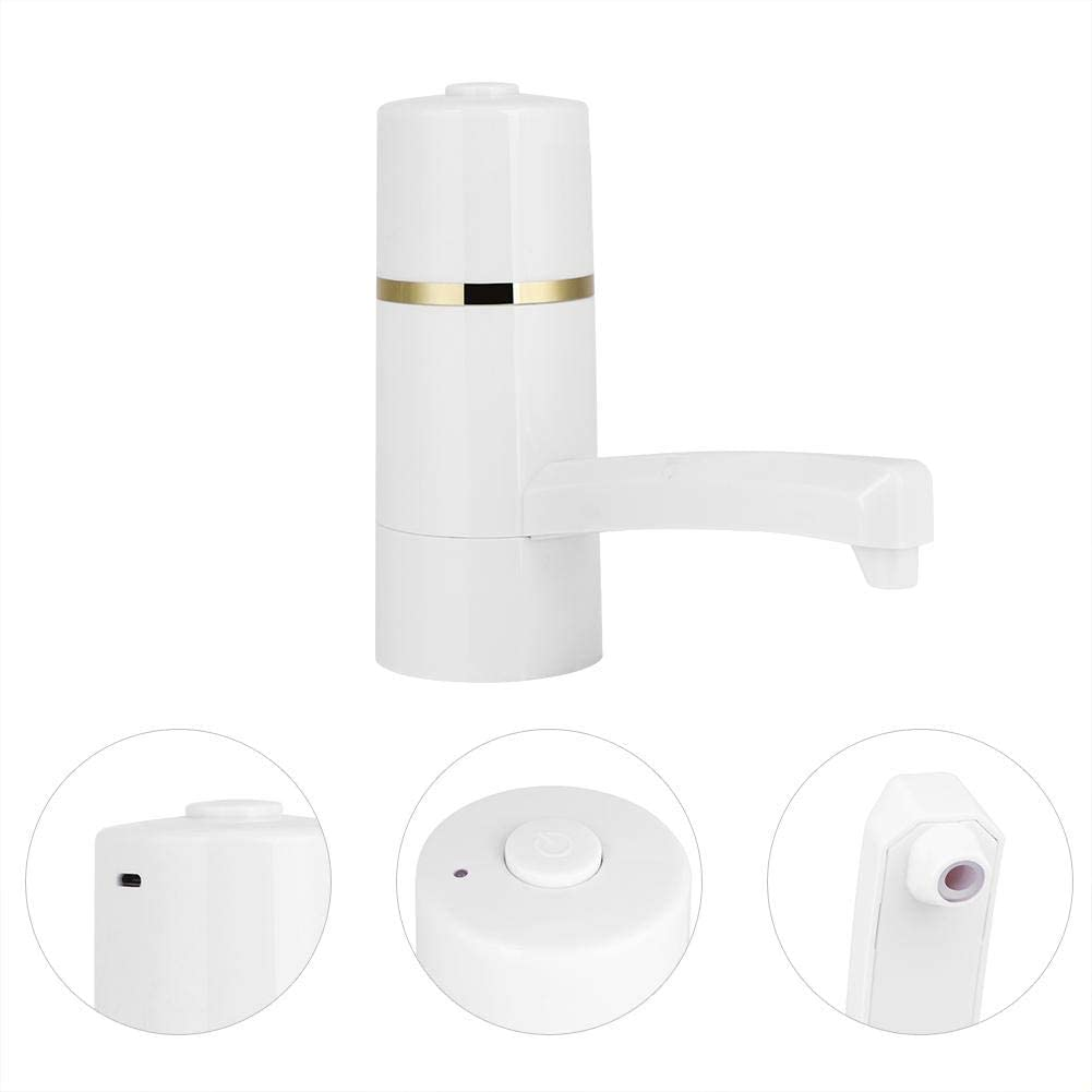 Water Dispenser Pump,White USB Charging Water Bottle Pump for for Office Bedroom Kitchen Outdoor Camping Drinking Water