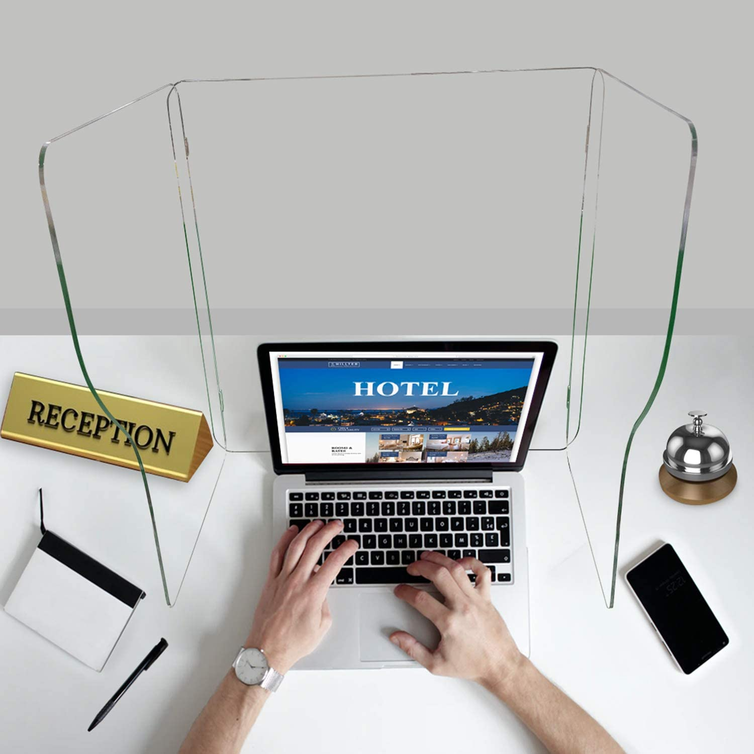 Acrylic Protective Desktop Sneeze Guard, Portable Plexiglass Isolation Barrier, Protects Employees Against Cough&Sneeze, Privacy Shield for School Office Desk,Restaurant,Reception (2 x 2 x 2 (FT))