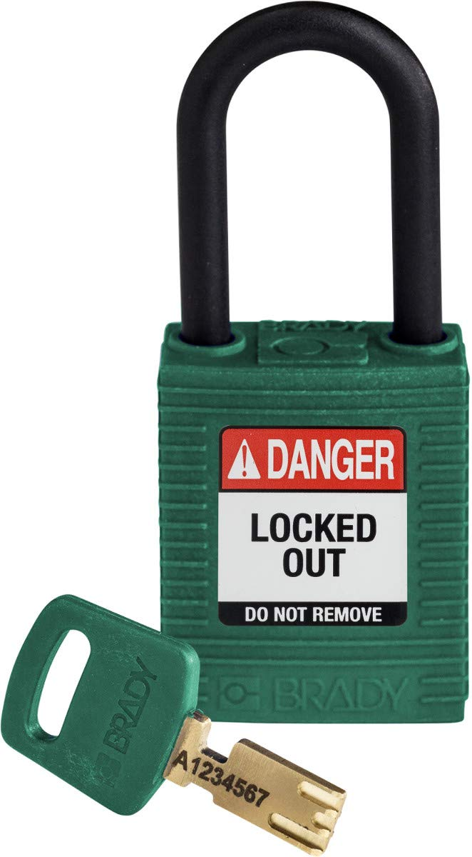 Brady SafeKey Lockout Padlock - Nylon - Green - 1.5 Plastic Shackle Vertical Clearance - Keyed Different