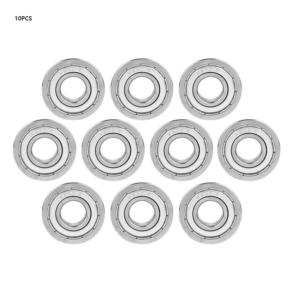 Taidda Bearing, Double-Shielded Ball Bearings 10pcs F6001ZZ 12x28x8mm Miniature Flanged Ball Bearings