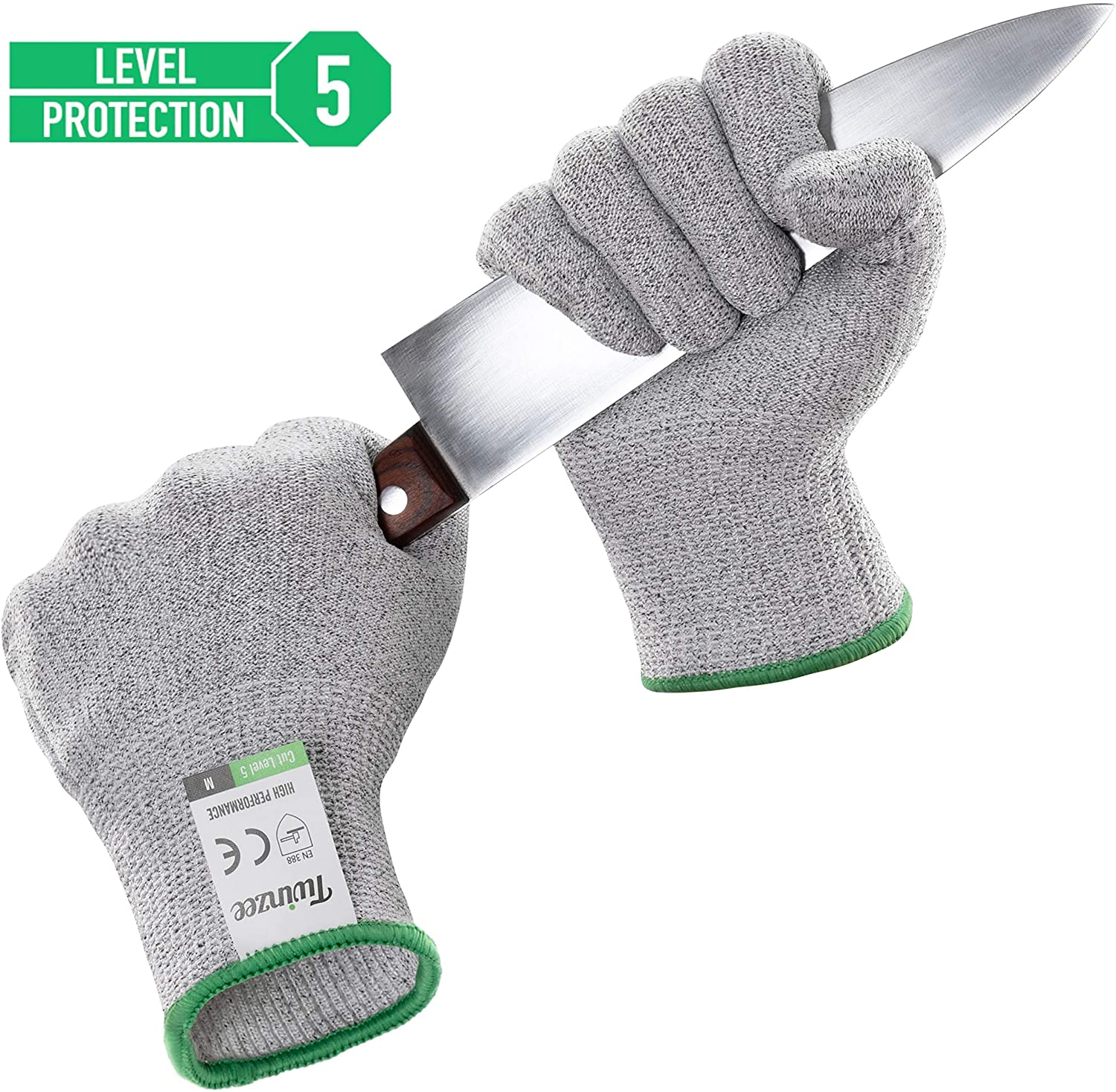Twinzee Cut Resistant Kitchen Gloves - High Performance Level 5 Protection, Food Grade, EN 388 Certified, 1 pair (L)