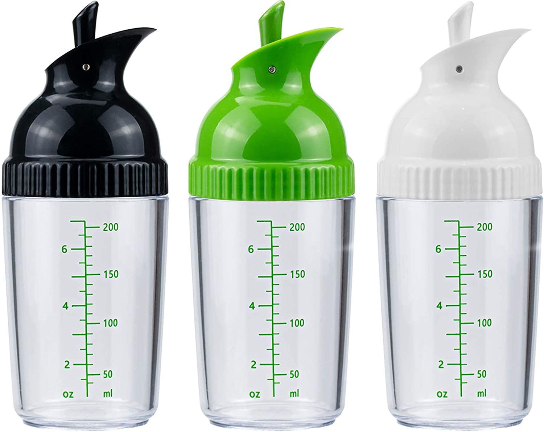 Nicunom 3 Pack Salad Dressing Shaker, 200ml Good Grips Dressing Mixer Shaker Bottles, Black & White & Green