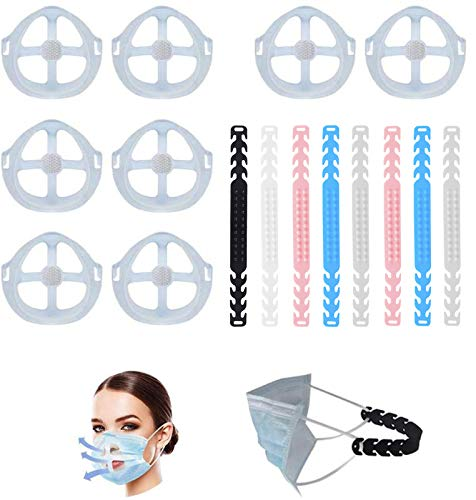 3D Mask Holder with Velcro Mask Inner Support Frame Adult Large Protect Lipstick Lips Big Space,DIY Face Mask Accessories for Homemade Cloth Mask Send Ear Strap Extender (8PCS+8PCS)