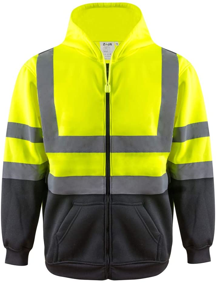 ZUJA Safety Reflective Bomber Protective Construction Work Wearsafety fleece hooded sweatshirt zip ANSI Class 3 warm high visibility for men (Extra Large, Lime Yellow)