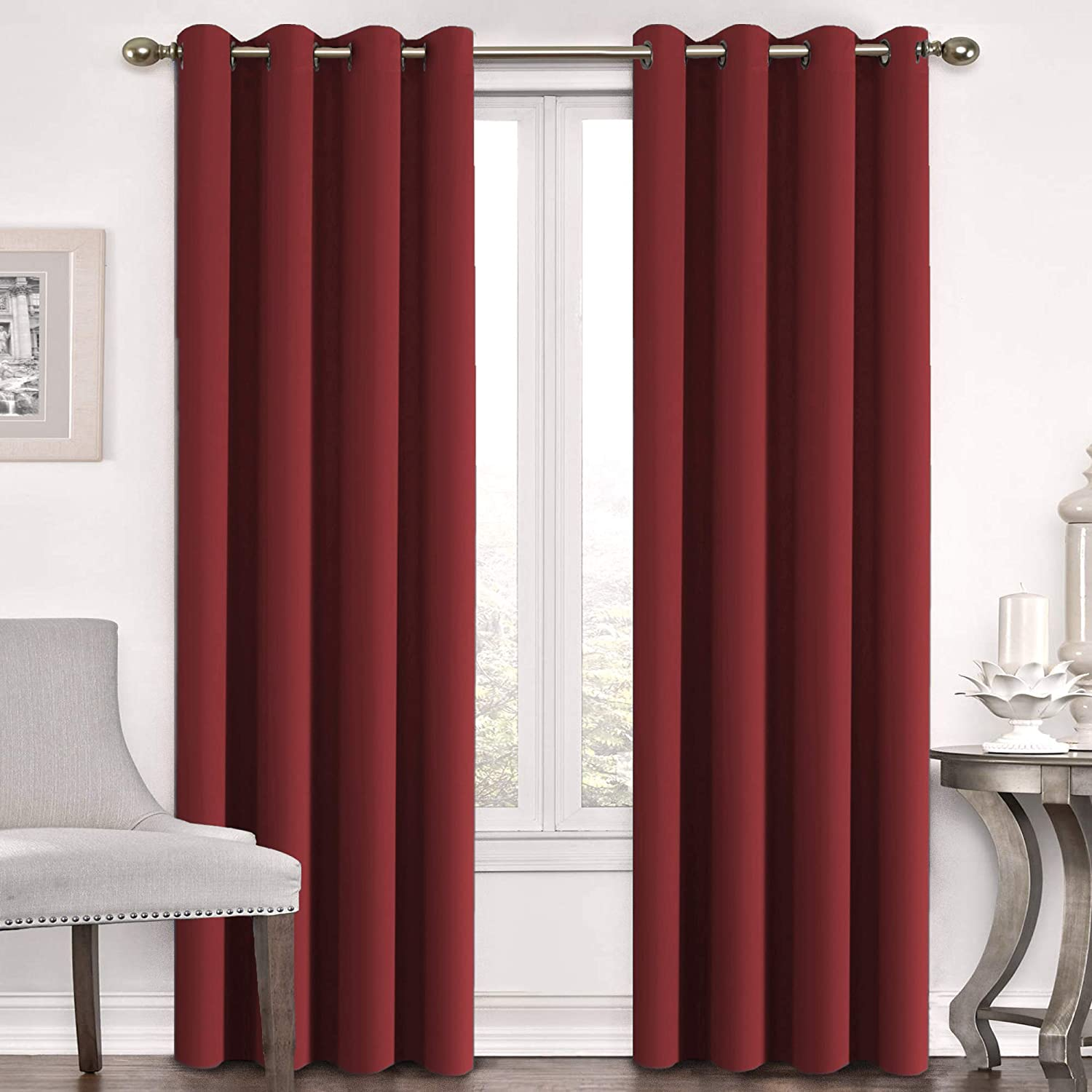 Flamingo P Blackout Curtains Panels for Bedroom - Window Treatment Thermal Insulated Solid Grommet Blackout Drapes for Living Room (Set of 2 Panels, 52 by 96 Inch, Cardinal Red)