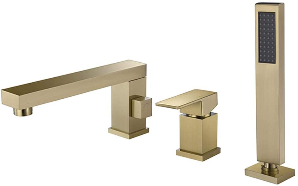 Wathels Contemporary Bathroom Bathtub Faucet Roman Tub Filler Faucets with Hand Shower Set 3 Holes (Brushed Gold)