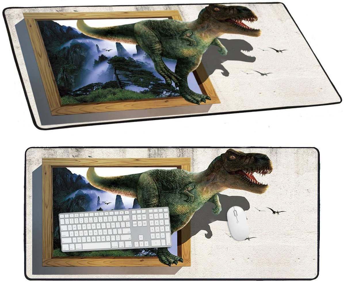 Desk Large Mouse Pad, 3D Dinosaur Pattern Mousepad for Laptop Keyboard, Idea Gift XXL Long Office Gaming Mat 1 Pcs 0.08
