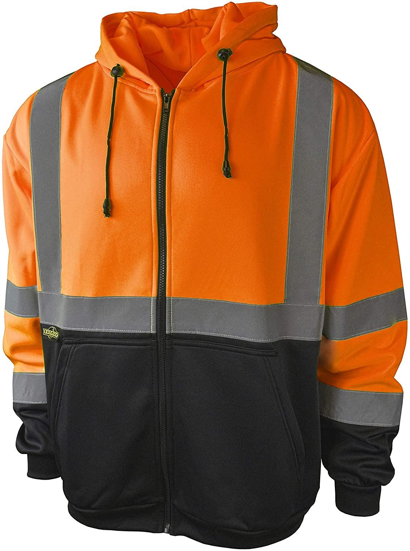 Radians SJ01B-3ZOS Class 3 Color Blocked Hooded Sweatshirt, 4X-Large, Orange