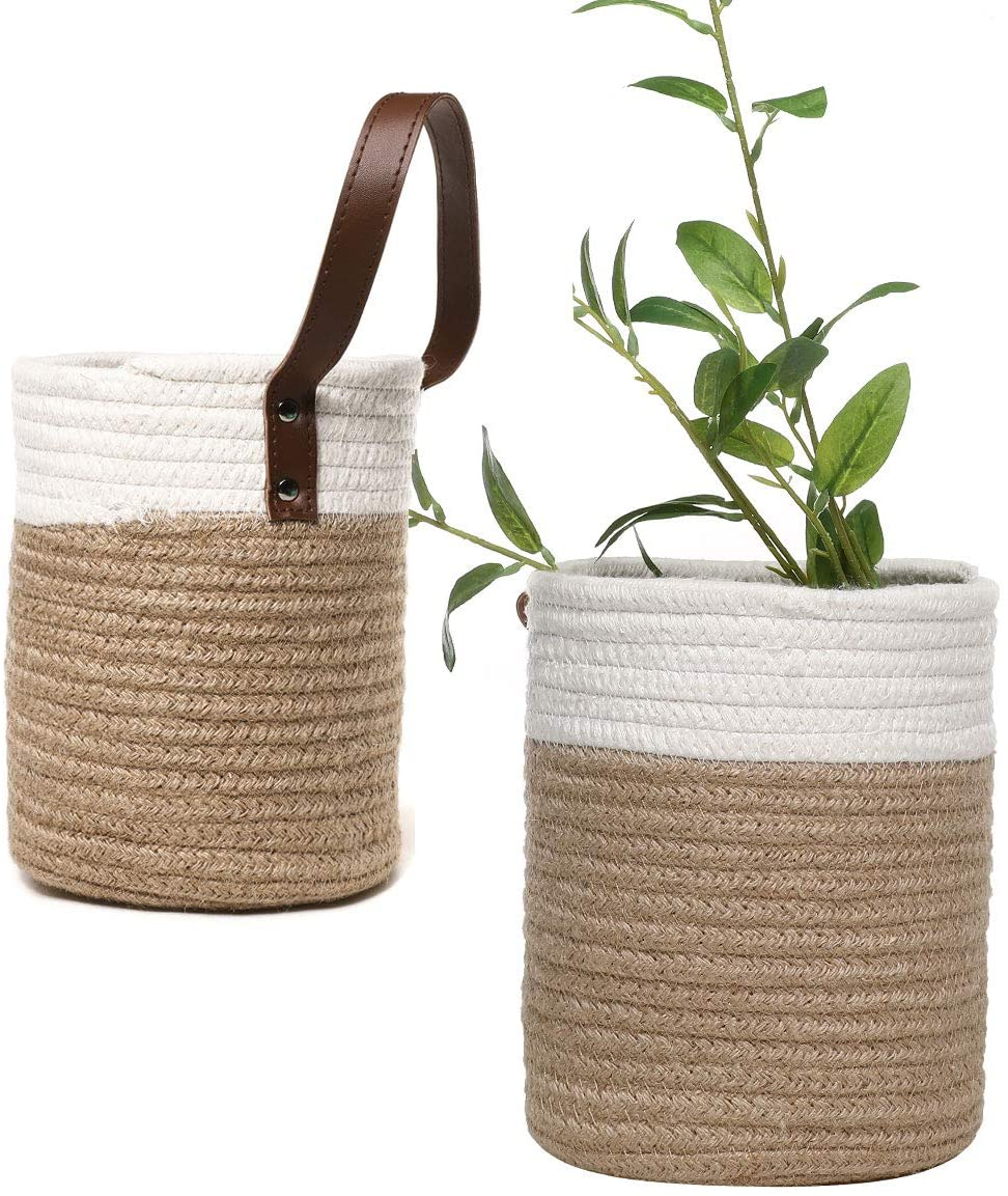 EXEBLUE Hanging Storage Baskets Wall Decor Set of 2, Small Wall Woven Baskets with Handle for Plants Fruits Toys toiletries diaper, White & Jute Woven Baskets