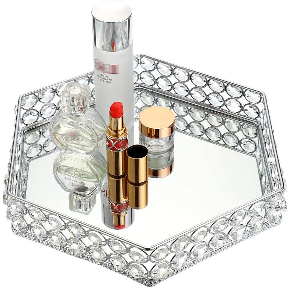Hipiwe Mirrored Crystal Vanity Makeup Tray, Hexagon Ornate Jewelry Trinket Tray Cosmetic Organizer Perfume Tray Skin Care Tray for Dresser Bathroom,Christmas Birthday Gift for Girl Women