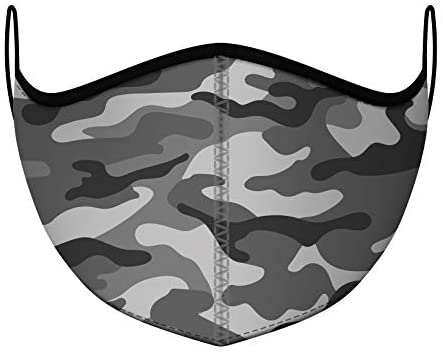 Top Trenz Reusable Face Mask Made with Stretch Cloth for Everyday Use - Indoor/Outdoor Face Cover - Grey Camo - Kids Ages 3-7