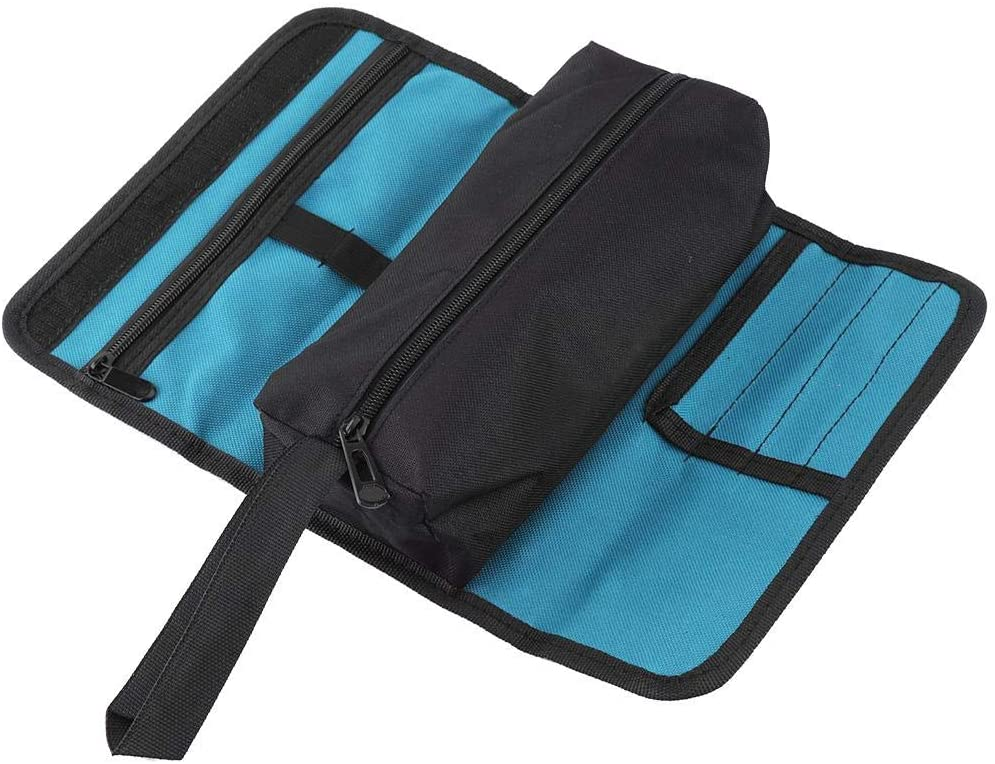 Folding Electrician Tool Storage Holder Small Roll Bag Rolling Tool Pouch Repair Kit Organizer Hardware Tool Bag Driver Roll Garden Electrician Carpenter Plumber