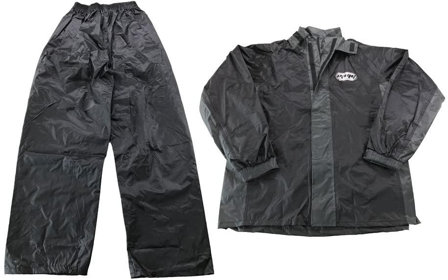 Adult Unisex Motorcycle Rain Suit – Light Weight Waterproof Jacket and Pants 2 Pcs Set – Black/Grey - Size L