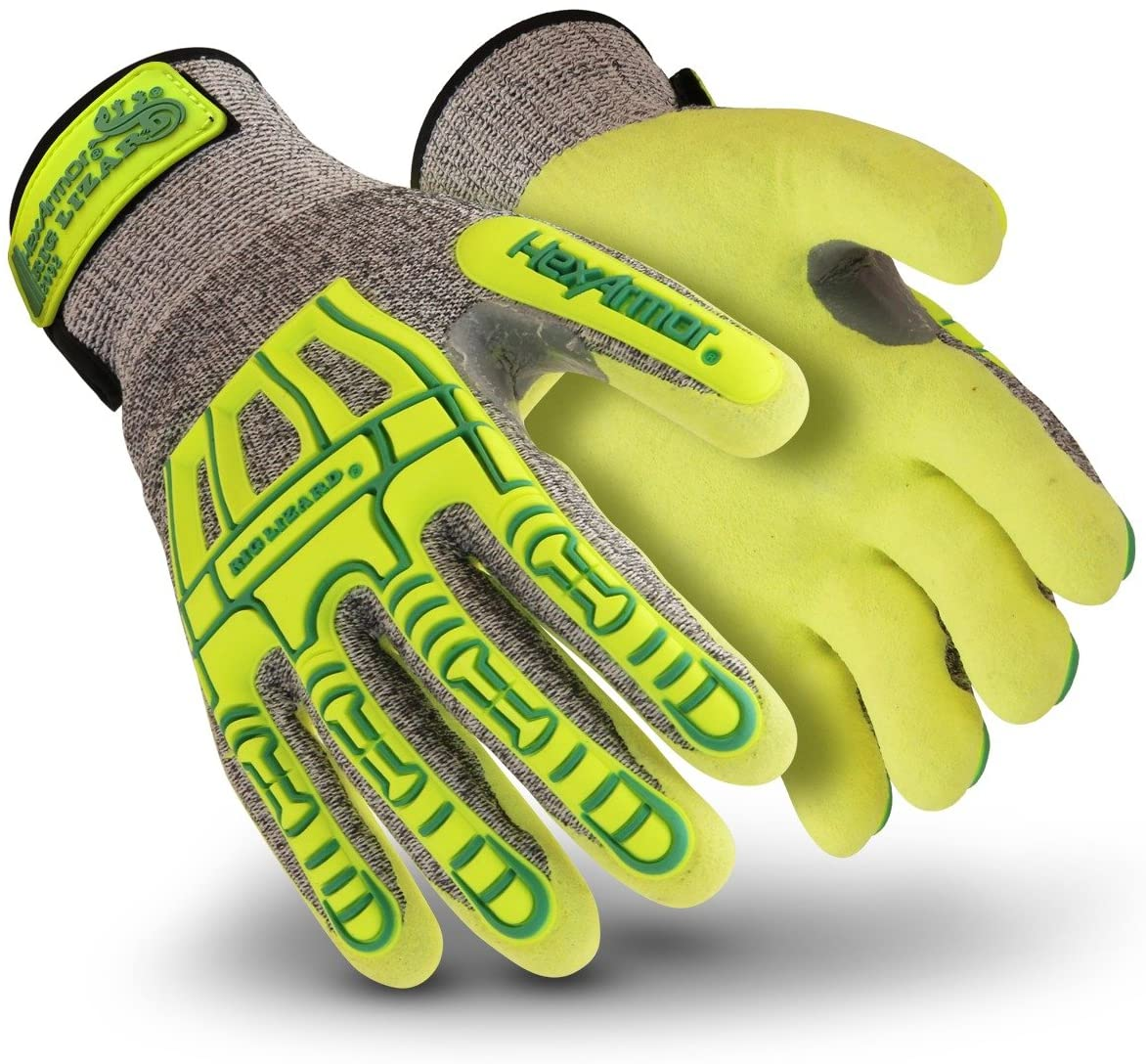 HexArmor Rig Lizard Thin Lizzie 2092 Impact Work Gloves with Sandy Nitrile Coated Palm, Medium