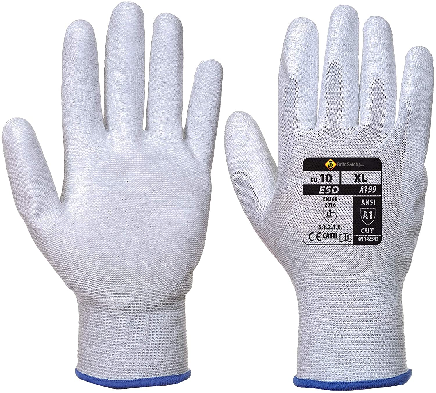 Antistatic PU Palm Gloves - Work Glove for Men and Women (Medium, Gray, 12 Pairs)