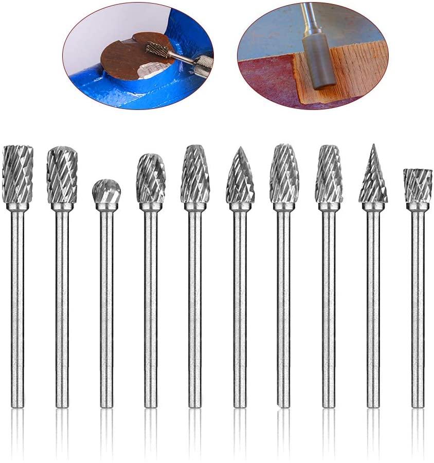 10pcs Carbide Rotary Burr Bits Set 1/8'' Shank Double Cut Cutting Burr, 1/4