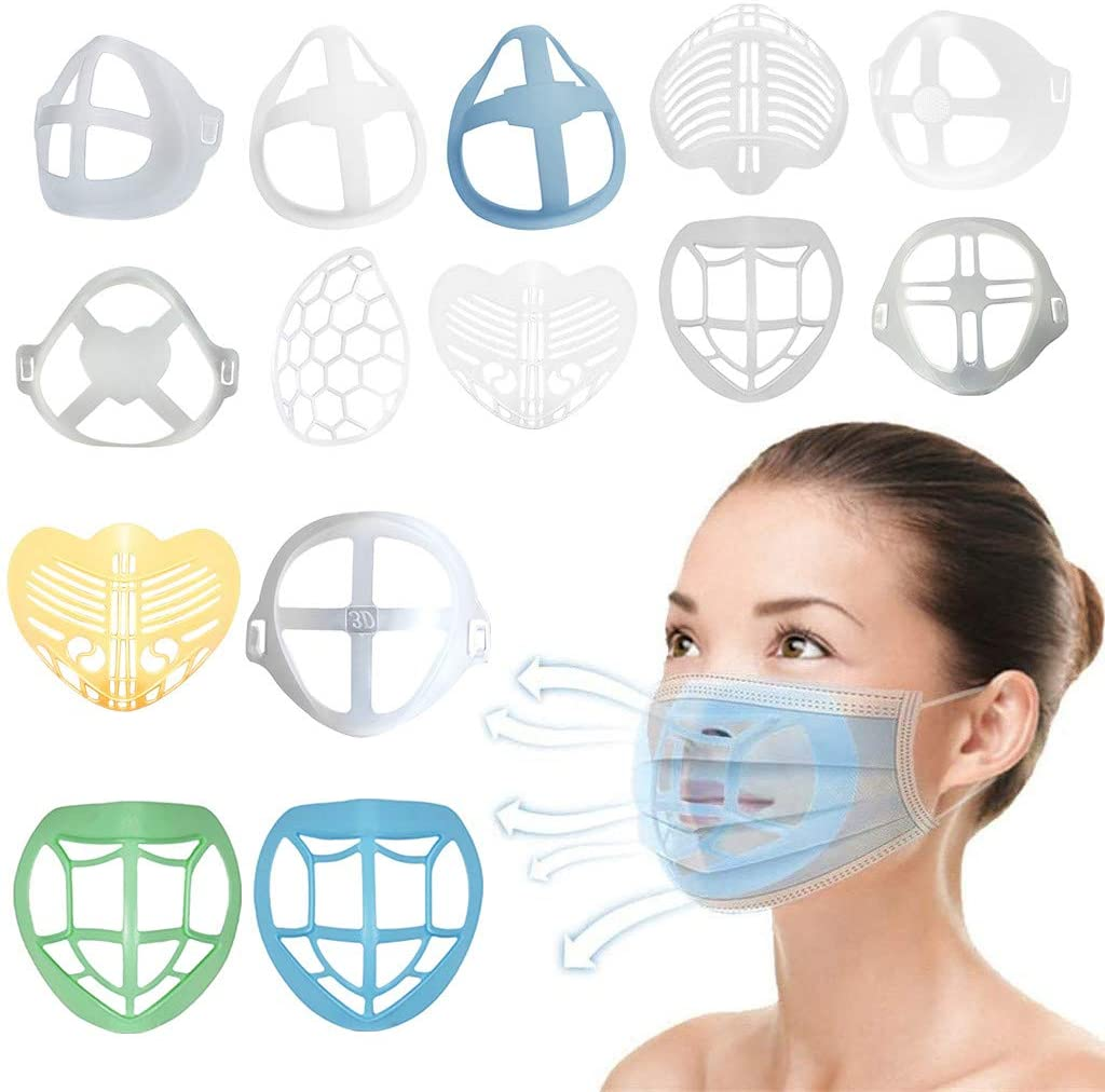 14PC Silicone Mask Insert - Unisex Reusable 3D Face Mask_Bracket, Super Soft and Comfortable Facial Inner Support Frame for Mouth Face Guard, To Create More Breathing Space (A)