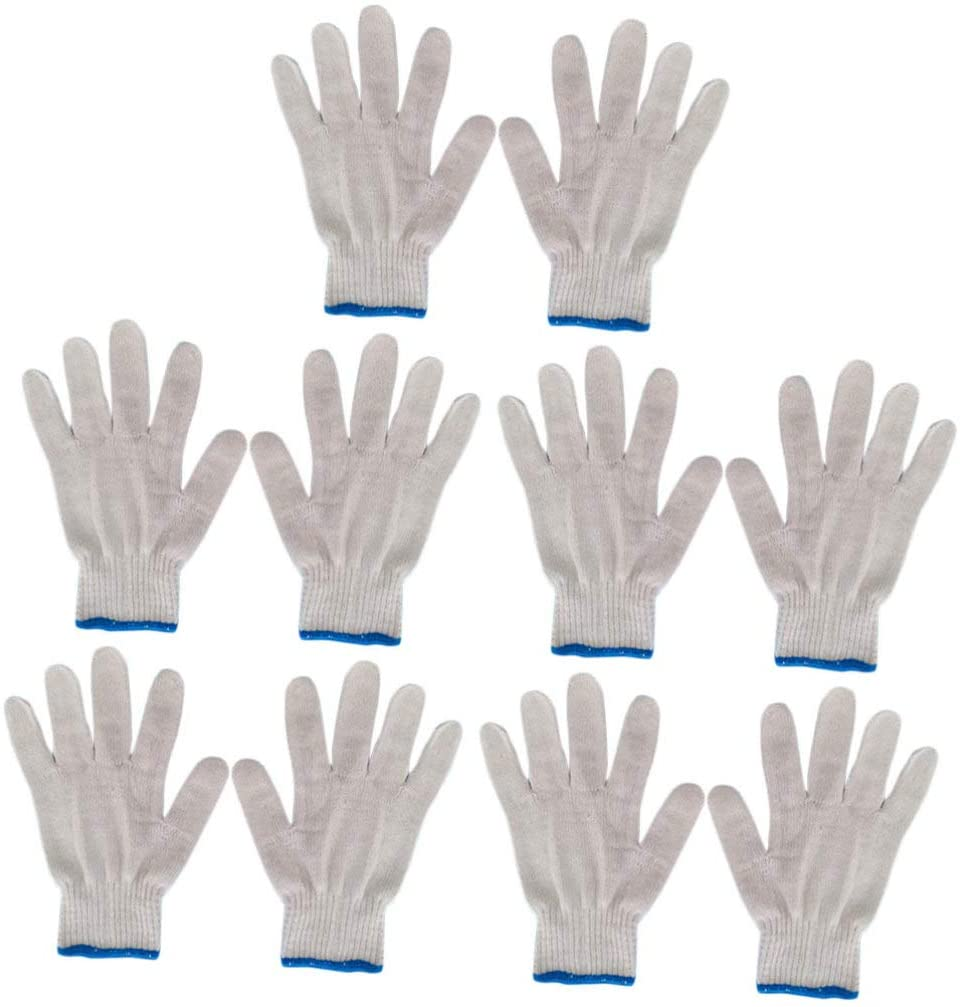 Exceart 10pcs White Cotton Gloves Safety Work Gloves Anti Abrasion Heavy Duty Multipurpose Gloves Cut and Impact Resistant Gloves
