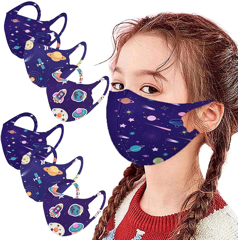 6pcs Children Fashion Cute Starry Sky Reusable Face Mask Washable Comfortable Face Shield for Kids
