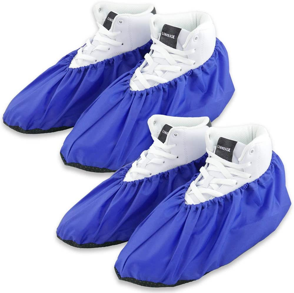 LINKEASE Reusable Boot & Shoe Covers Water Resistant Non Skid and Washable for Real Estate Contractors to Keep Floors Carpets Footwear and Rooms Clean - 2 Pairs (Extra Large, Blue)