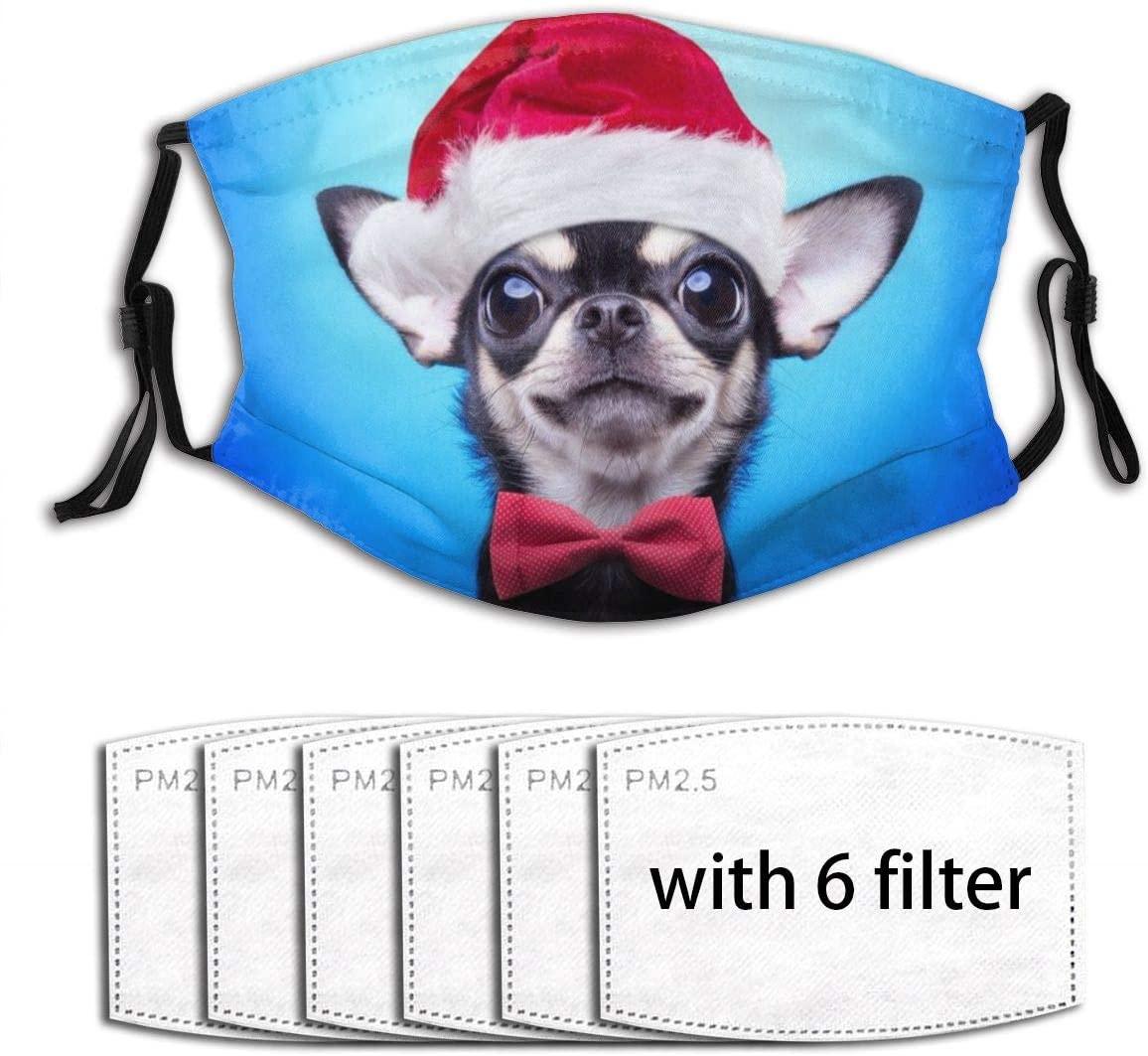 Christmas Puppy Face Mask Reusable Washable Cloth Face Bandanas Balaclava For Men Women With 6 Pcs Filter