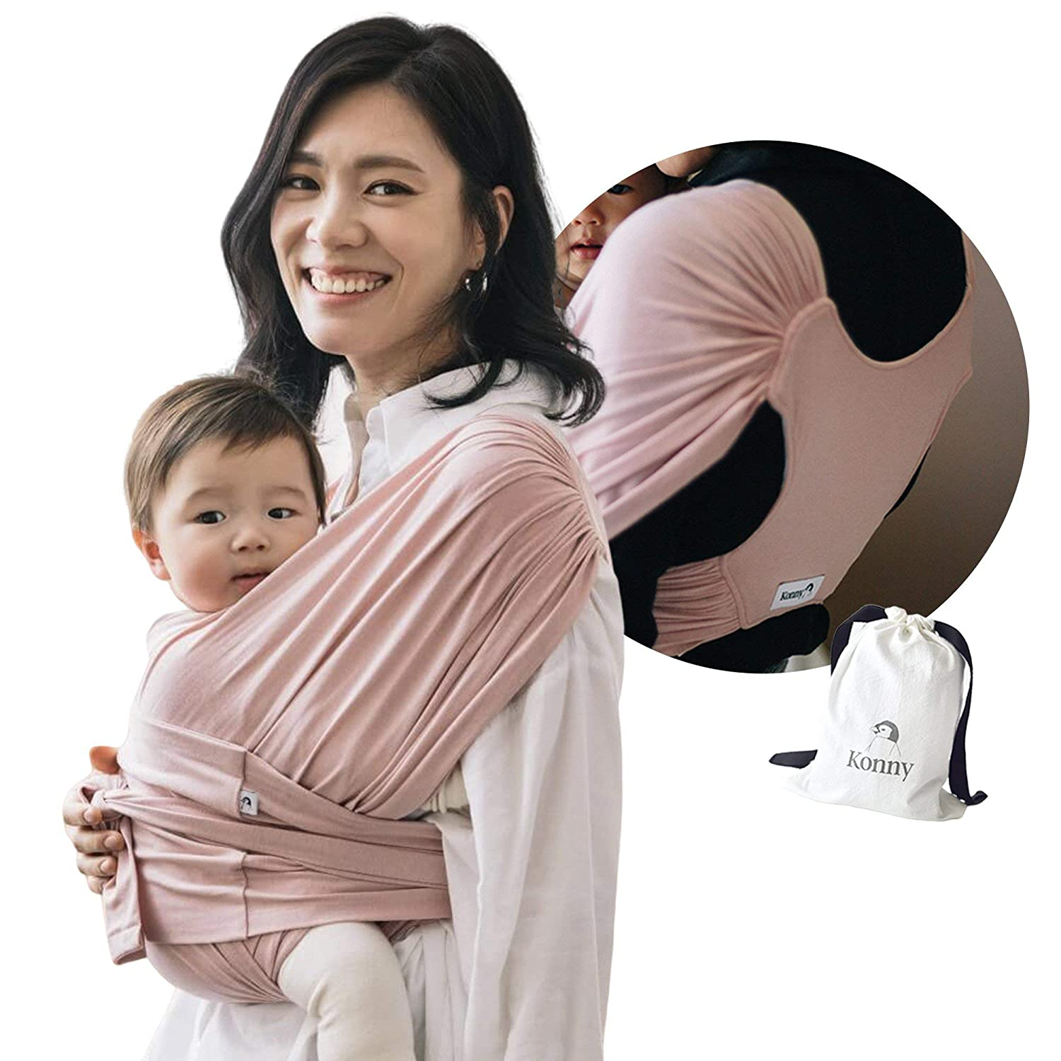 Konny Baby Carrier | Ultra-Lightweight, Hassle-Free Baby Wrap Sling | Newborns, Infants to 44 lbs Toddlers | Soft and Breathable Fabric | Sensible Sleep Solution (Pink, M)