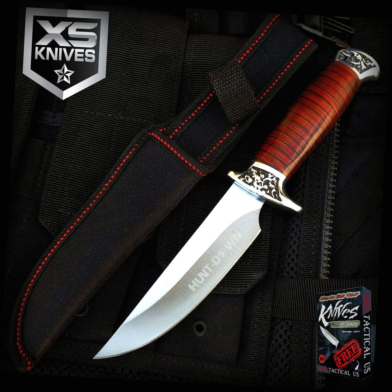 10-inch Hunt-Down Fixed Blade SURVIVAL Wood Handle Hunting Pro Tactical Elite Knife Skinner W/Sheath XS196K + Free eBook by ProTactical-US
