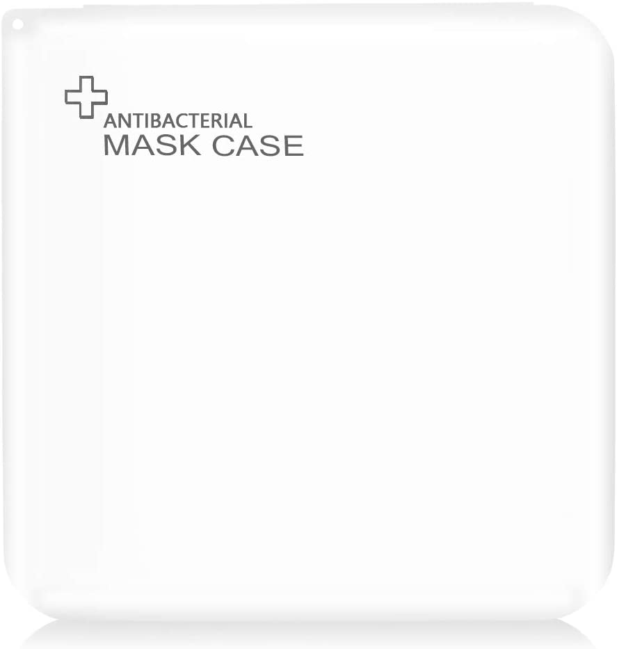 KINMAD Portable Mask Storage Bag Case, Dustproof Mask Organizer Keeper Box for Mask Pollution Prevention, (White, 13 x 13cm)
