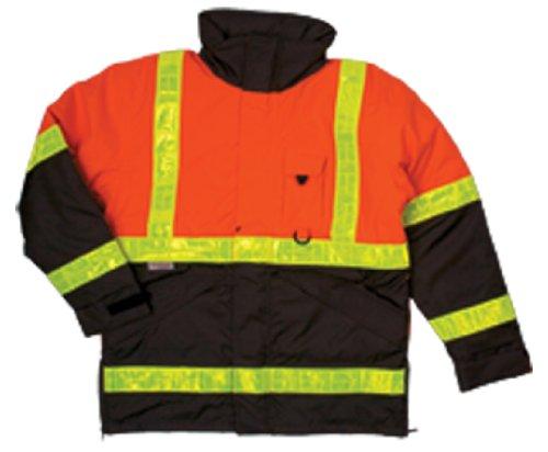 ML Kishigo JS111 Polyester 360 Pro Series Parka HIgh-Viz Jacket with Hidden Collar Hood, Extra Large, Orange