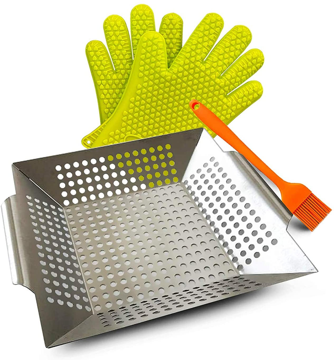 Grill Basket, BBQ Grill Basket Set of 3, Silicone Brush-Gloves, Stainless Steel, Large Grill Basket for More Vegetables, Fish, Meat, Shrimp, Chops and Much Other Food, Perfect BBQ Grill Basket.