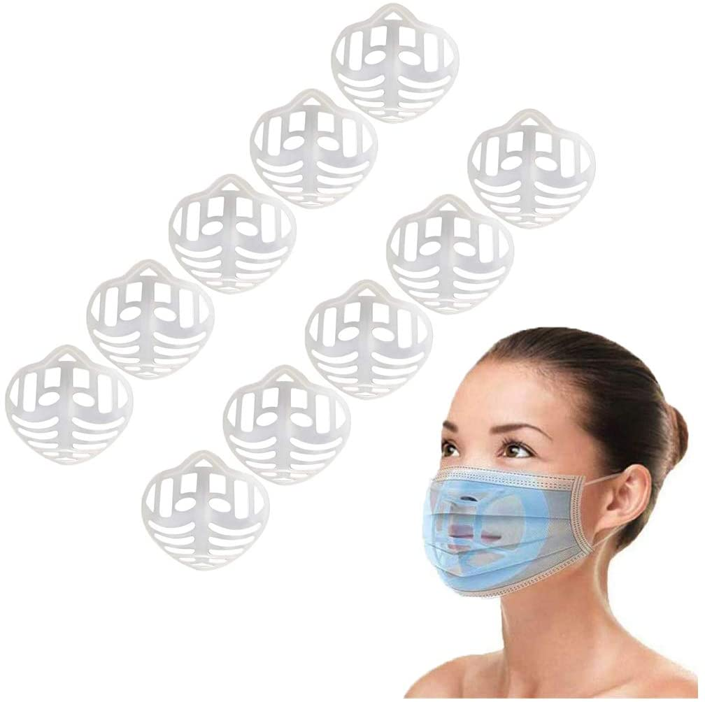 3D Face_Mask Bracket Inner Support Frame to Breath, Plastic Guard Under Face_Mask Guard, Reusable Washable,Prevent Lipstick Stick on (10, white)