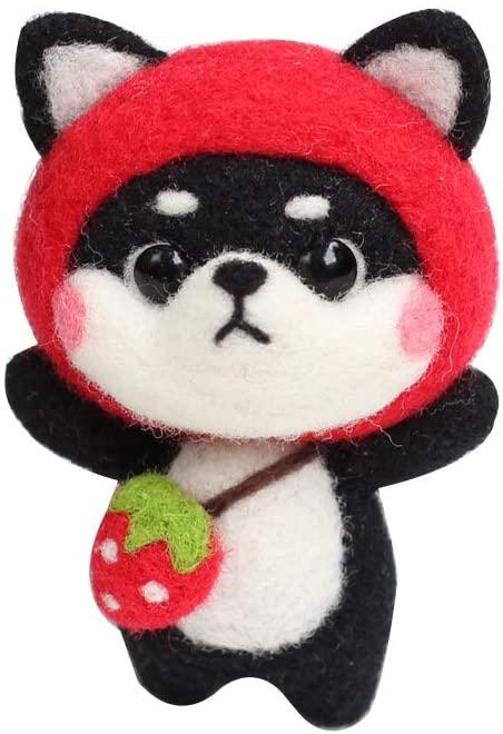 Shiba Inu Needle Felting Kit for Beginners, Handcraft Wool Needle Felting Animal Doll Kits Plush Toy Combination Sets for Kids,Adults