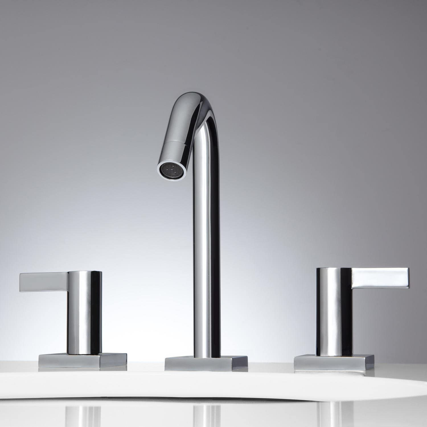 Signature Hardware 920797 Flair Widespread Bathroom Faucet with Pop-Up Drain Assembly