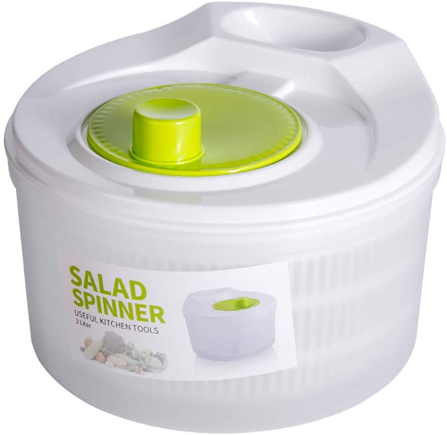 Aiboria Large 5L Salad Spinner, Vegetable Lettuce Washer Dryer with Bowl and Rotary Handle for Tastier Salads and Faster Food Prep, Easy Water Drain System and Compact Storage, BPA Free