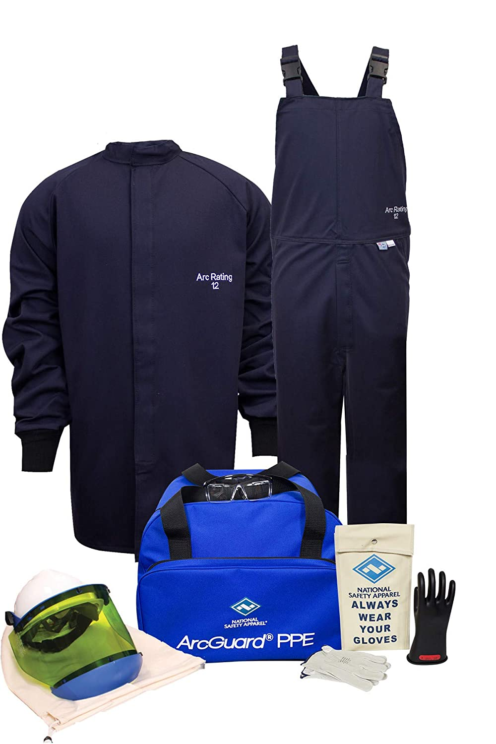 National Safety Apparel KIT2SC11MD08 ArcGuard Ultrasoft Arc Flash Kit with Short Coat and Bib Overall, 12 Calorie, Medium, Size 8, Navy