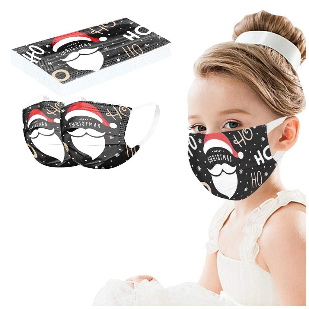 Kids 3 Ply Disposable Earloop Woven Face_masks Unisex Printed White Soft For 3-Layer Bandana,Pack of 10PCS