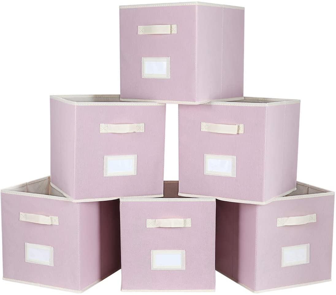 TQVAI Foldable Storage Cubes Boxes Closet Bins with Label Holder and Handle, 6 Pack, Dogwood Pink