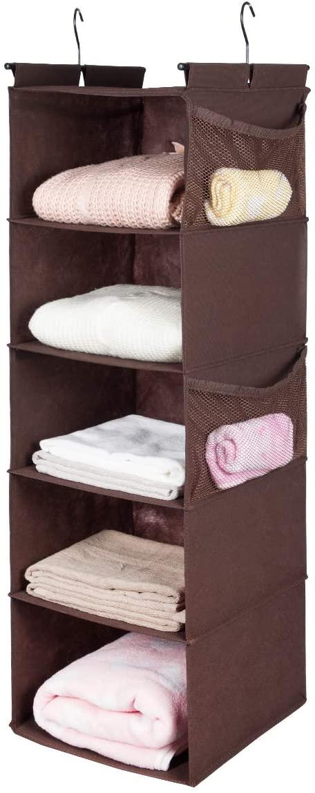 MAX Houser 5 Shelf Hanging Closet Organizer,Space Saver, Cloth Hanging Shelves with 4 Side Pockets,Foldable