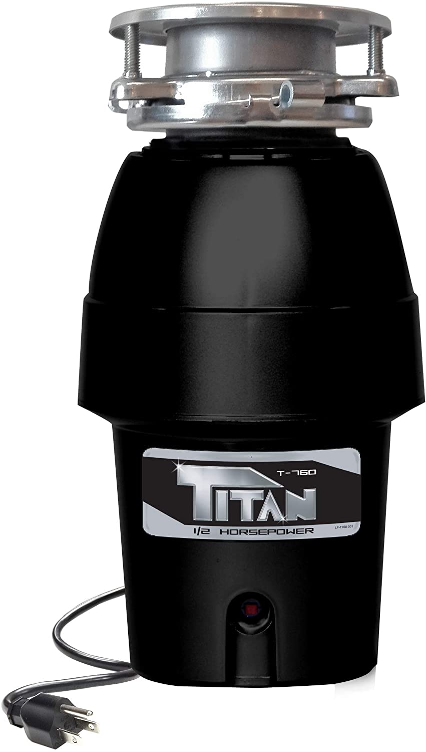 Titan 10-US-TN-760-3B Garbage Disposal, 1/2 HP - Mid Duty, Black with Stainless Steel Flange
